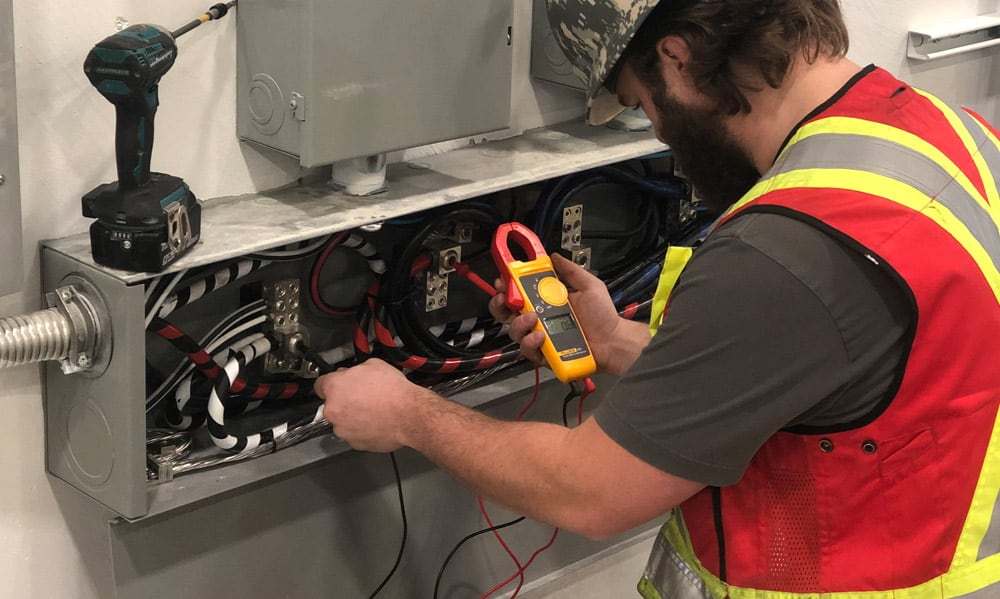 commercial electrician at work